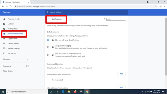 How To Allow or Block Notifications from all sites On A Computer